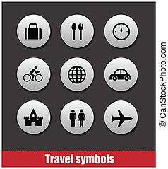 travel symbols vector set