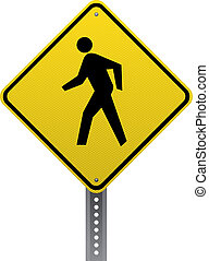 Pedestrian crossing traffic warning sign. Diamond-shaped...