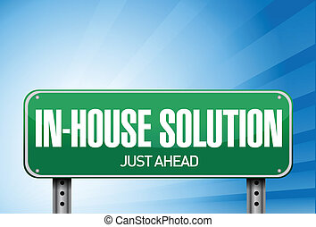 inhouse road sign illustration design over a white...
