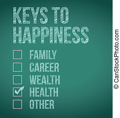 health keys to happiness illustration design over a...