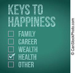 teclas, desenho, felicidade, Ilustração, saúde
