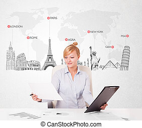 Beautiful young businesswoman with world map and major landmarks of the world
