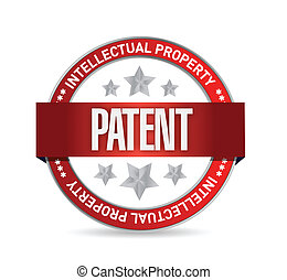 patent seal stamp illustration design over a white...