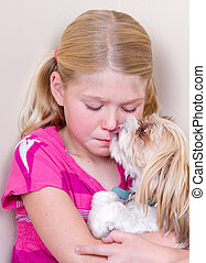 Dog licking childs face - sad child sitting in corner with...