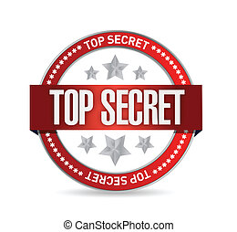 top secret seal stamp illustration design over a white...