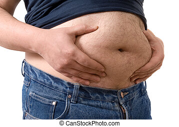 big fat belly - Man holding his big fat belly isolated on...