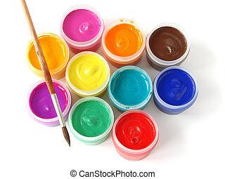 gouache - watercolor gouache paints set with brush...