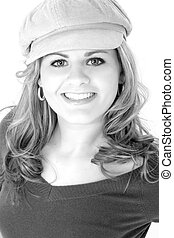 Beautiful Young Woman Wearing Cap in Black and White - Close...