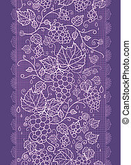 Lace grape vines vertical seamless pattern background border