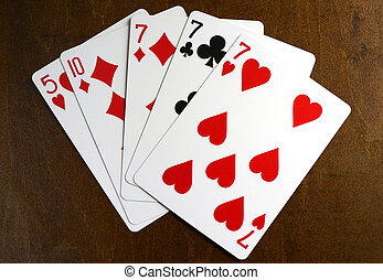 lucky seven poker hand - lucky 7 poker hand with three of a...