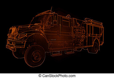 Neon Fire Truck Outline Drawing - Red Neon Fire Truck...