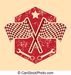 checkered flags over cream background vector illustration