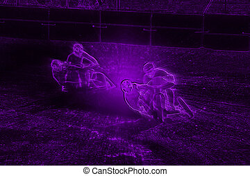 Abstract Violet Neon Dirt Track Sidecar Motorcycle Racers