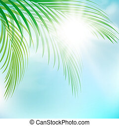 Summer Sun With Palm Leaves Over Blue Sky