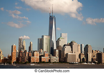 Freedom Tower and the World Financial Center on July 4th,...
