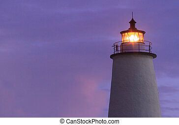 Ocracoke Light Shining at Dawn - Th Lighthouse on Ocracoke...