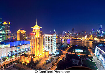 night scene of shanghai from the oriental pearl tv tower
