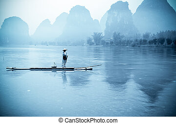yangshuo landscape - beautiful karst mountain landscape with...