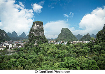 yangshuo county town against a blue sky,beautiful karst...