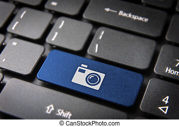Blue Camera keyboard key , Entertainment background -...