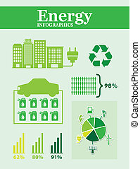 energy infographics over green background vector...
