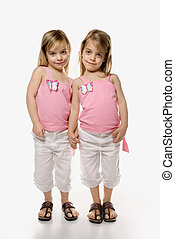Girl children twin siblings - Female children Caucasian...