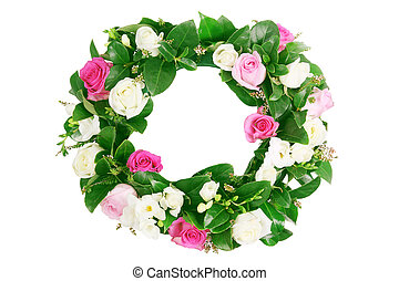 Roses Garland on White Background
