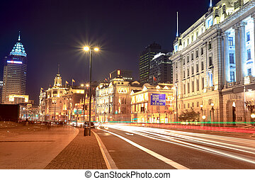 night shanghai bund,streetscape of old building with light...