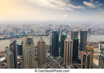 overlooking shanghai in the afternoon
