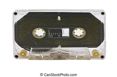 Old audio tape on white background.