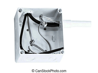 white plastic electrical junction - Installation to scan out...