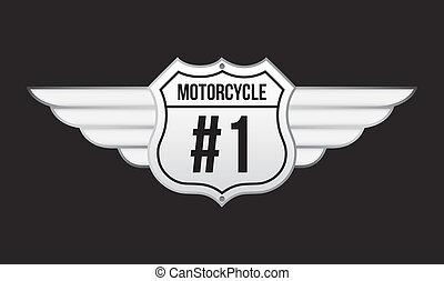 motorcycle emblem over black background vector illustration