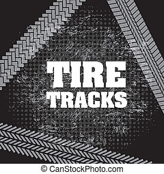 tire tracks over black background vector illustration