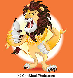 Lion King of Beast Mascot - Male Lion Mascot Thumbs Up And...