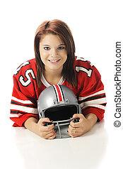 Girl with a Football Helmet