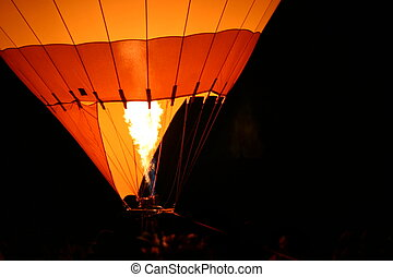 Hot Air Baloon - Hot air balloon with flames from the burner...