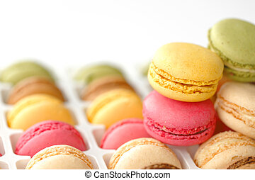 Colorful macaroons in white box