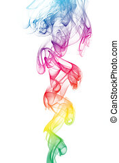 Rainbow Colored Smoke - Rainbow colored smoke curves on...