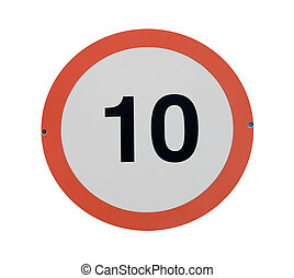 Speed limit traffic sign - Red traffic sign with speed limit...