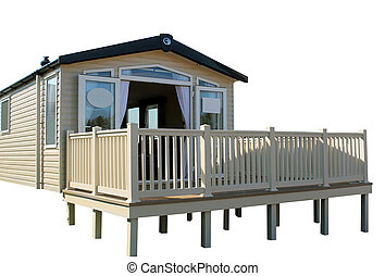 Static caravan on modern trailer park, white background.