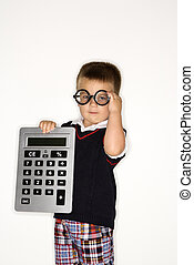 Boy child with calculator - Caucasian male child wearing...