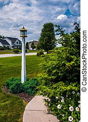 Path and lightpost in garden