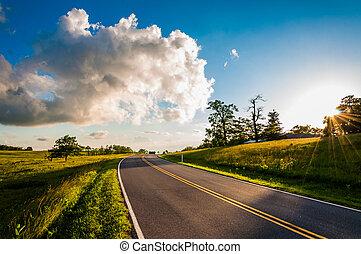 Sunset over Skyline Drive in Big Meadows, Shenandoah National Park, Virginia.