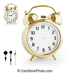 Alarm clock DIY kit from gold metal Clipping paths for each...