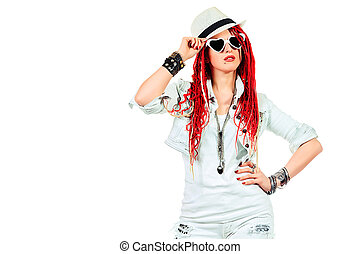 fashion stile - Expressive girl rock singer with great red...