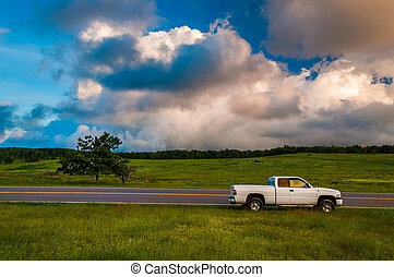 White truck along road in Big Meadows, Shenandoah National...