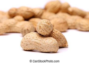 Two peanuts in closeup on the peanut background
