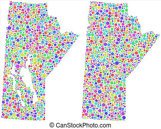 Decorative Map of Manitoba - Map of Manitoba - Canada - in a...