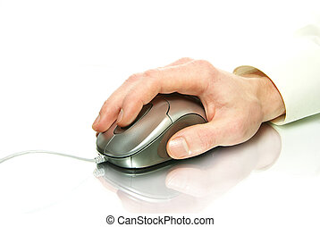 computer mouse - white computer mouse and hand on white
