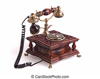Retro fixed phone isolated on the white background. -...